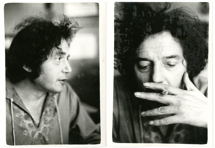 Two b/w photographs by Susan Janssen of Sinclair Beiles in London, August 1975. Sinclair BEILES.