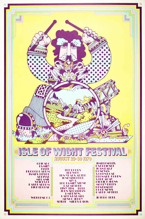 Original offset litho poster announcing the 1970 Isle of Wight Festival (August 28th-30th),