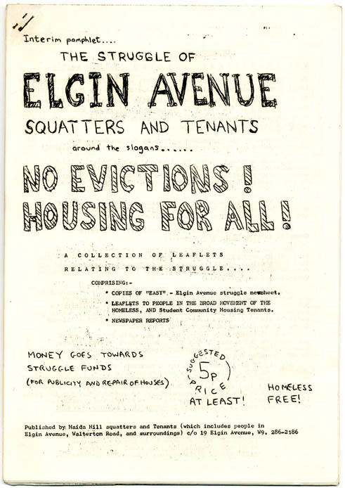A collection of documents produced between 1974-75 by the Maida Hill Squatters and Tenants Association during their struggle with the GLC, including seven flyers, a pamphlet, and numerous issues of EASY, the Elgin Avenue newsheet.