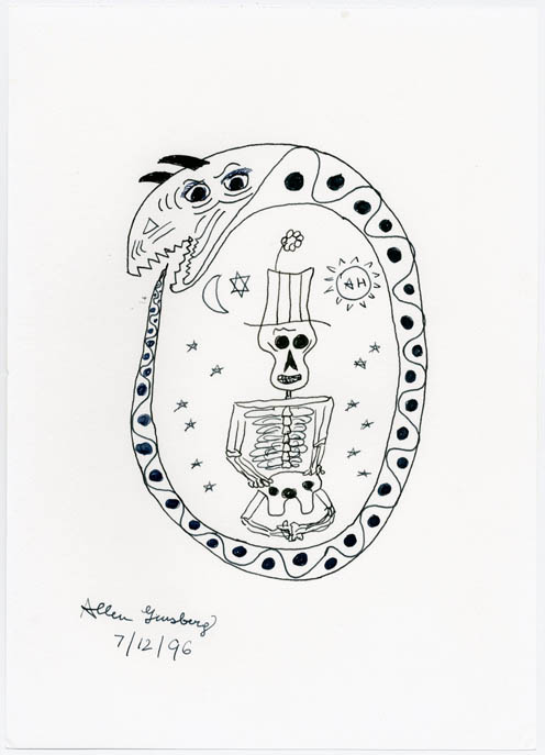 ORIGINAL PEN AND INK DRAWING ON WHITE PAPER. Allen GINSBERG.