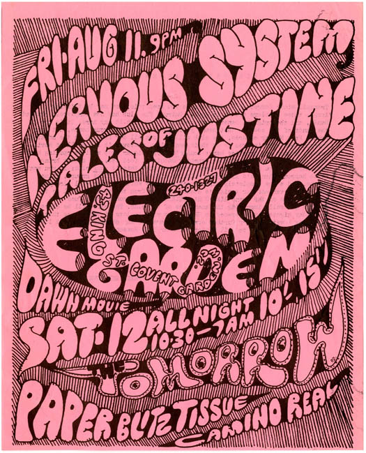 ELECTRIC GARDEN. Original handbill announcing appearances at the Electric Garden by Tomorrow and Paper Blitz Tissue, August 12th, 1967.