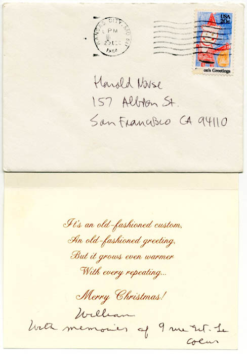 A hallmark christmas greetings card from william burroughs to harold a m4hsunfo