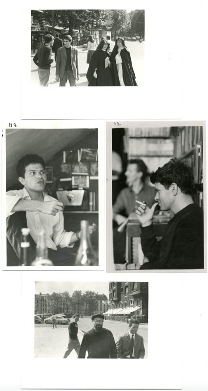 A group of four b/w photographs by Harold Chapman of Gregory Corso in Paris, c. late 1957/Spring 1958.