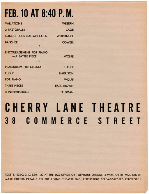 An original folded flyer/programme for two recitals by David Tudor presented by the Living Theatre at the Cherry Lane Theatre, New York City on January 1 and February 10, 1952. John CAGE.