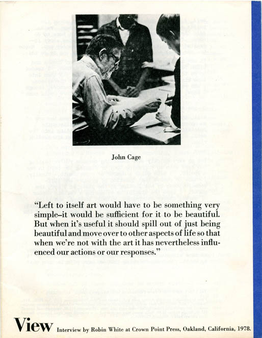 VIEW Vol. 1, #1 (Oakland, CA: Point Publications, April 1978). John CAGE.