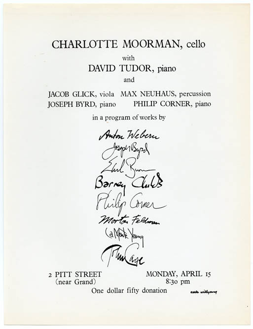 Flyer + programme flyer for Charlotte Moorman's solo debut recital, 2 Pitt Street, NYC, April 15, 1963. Charlotte MOORMAN.