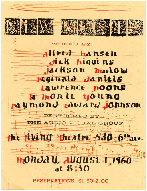 An original handbill announcing a performance of 'New Music' by The Audio-Visual Group at the Living Theatre, 530 6th Ave., New York City, August 1, 1960. THE NEW YORK AUDIO-VISUAL GROUP.
