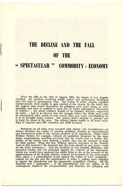 The Decline and the Fall of the 'Spectacular' Commodity-Economy. Guy DEBORD.
