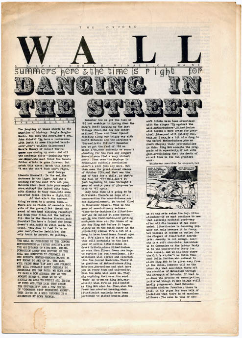 THE OXFORD WALL - A Paper for Criminals of Want. OXFORD MOTHERFUCKERS, The.