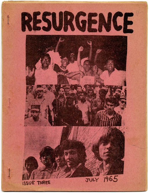 RESURGENCE #3/#6-#12. NY: Resurgence Youth Movement, July 1965-December 1966 (#3/#6-#7, #9-#10); Chicago, IL: (#8); Np., California: March 1967 (#11-#12).