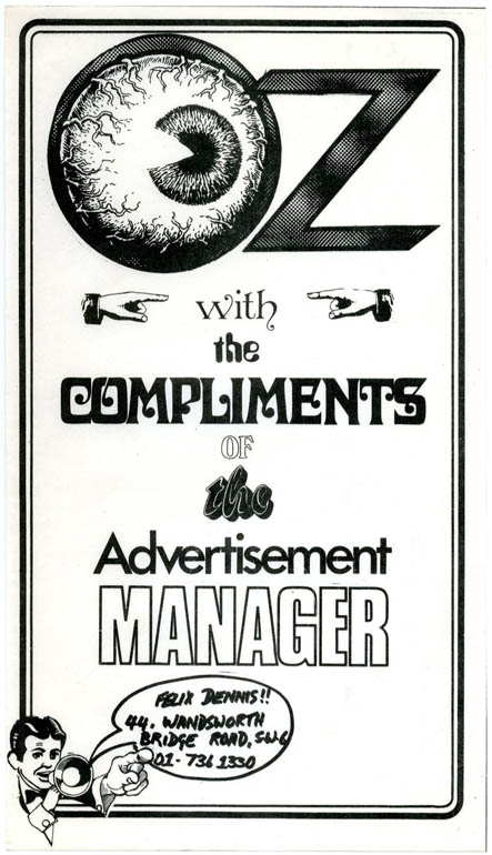 An Oz 'With the Compliments of the Advertising Manager' slip, c. 1971. OZ ADVERTISING COMPLIMENTS SLIP.