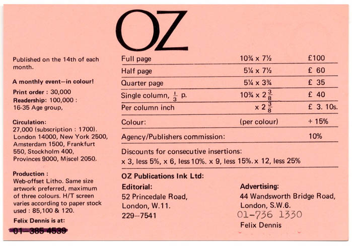A double-sided Oz advertising rates card, printed in black on pink stock, c. 1971. OZ ADVERTISING RATES CARD.