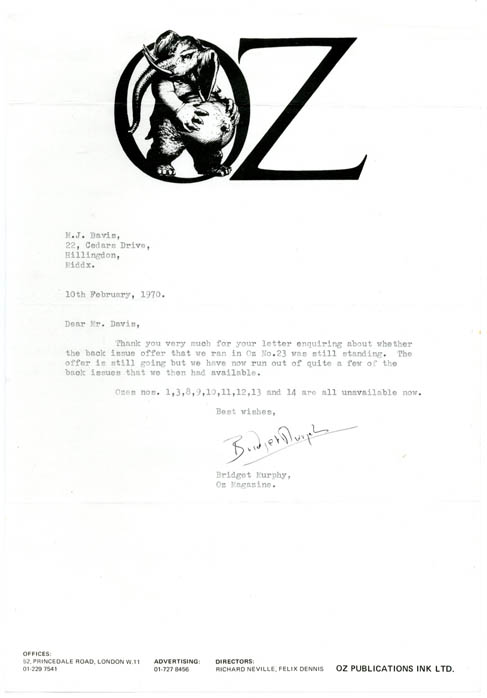 A Typed Letter Signed by Oz Secretary, Bridget Murphy, dated February 10th, 1970. OZ LETTER.