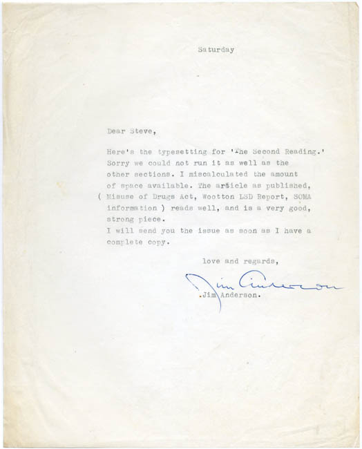 A Typed Letter Signed from Jim Anderson to the cannabis rights campaigner, Steve Abrams. Nd. (c. March/April 1970). OZ LETTER.