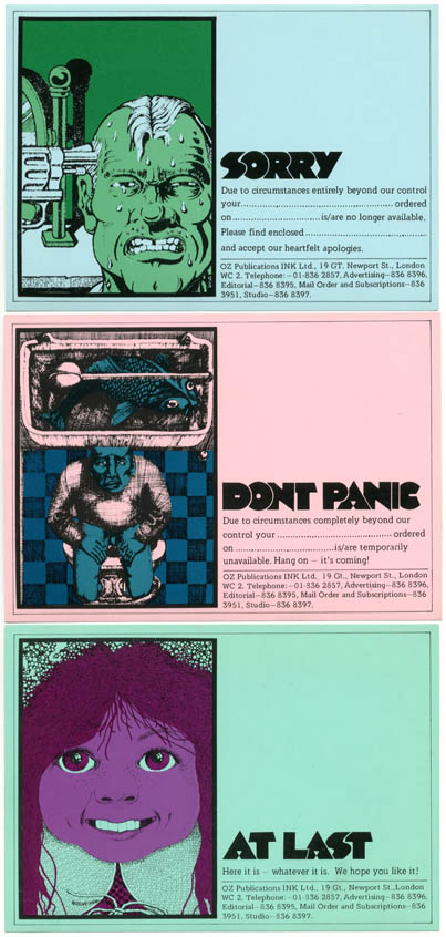 A set of three illustrated postcards printed in a variety of colours on glossy coated card stock. OZ MAIL ORDER CARDS.