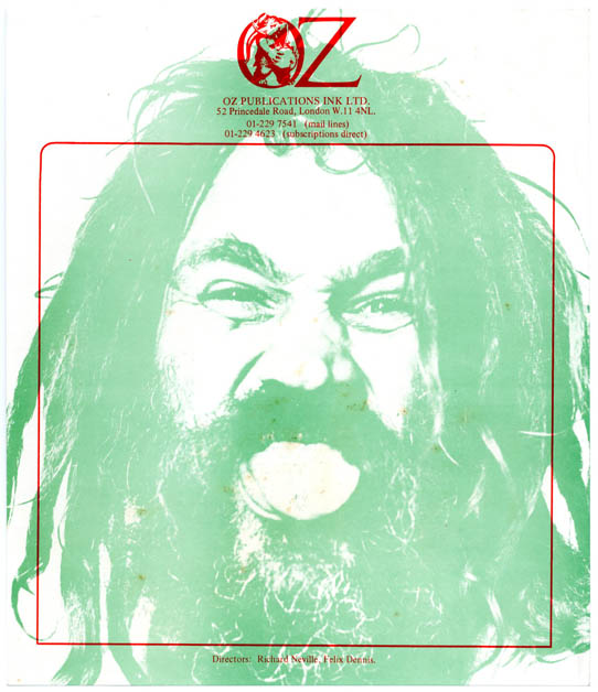 A single sheet of unused Oz Publications letterhead stationery featuring Keith Morris's photograph of a dreadlocked Lee Heater from the front cover of Oz #24, c. 1969/1970. OZ STATIONERY.