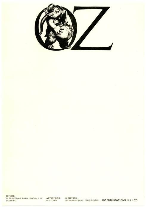A single sheet of unused Oz Publications letterhead stationery featuring the Oz pregnant elephant logo, c. early 1970. OZ STATIONERY.