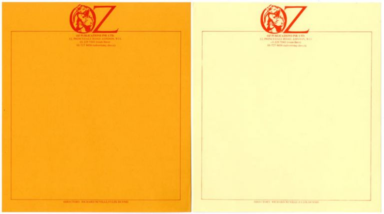 Two unused sheets of Oz Publications letterhead stationery featuring the Oz pregnant elephant logo, one printed in red on orange stock and the other on yellow stock, c. late 1970. OZ STATIONERY.