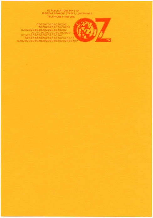 A single sheet of unused Oz Publications letterhead stationery featuring the Oz pregnant elephant logo, c. 1972. OZ STATIONERY.