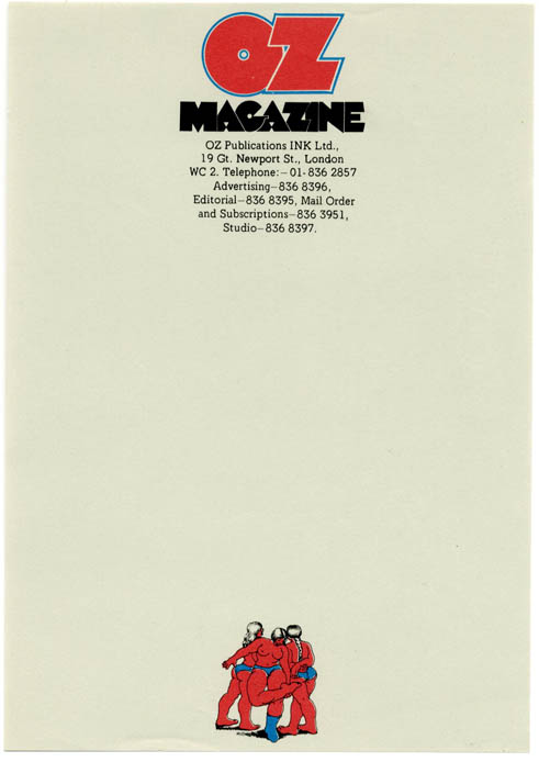 A single sheet (small size) of unused Oz Publications letterhead stationery featuring Robert Crumb's 'Three Graces', c. 1972. OZ STATIONERY.