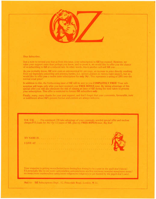 A printed Oz subscriptions letter featuring the Oz pregnant elephant logo, c. 1972. OZ SUBSCRIPTIONS.