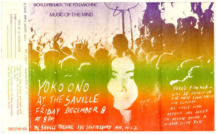 An Oz subscription form doubling up as a flyer announcing the solo concert 'Music of the Mind' by Yoko Ono at the Saville Theatre on December 8th, 1967. OZ SUBSCRIPTIONS/YOKO ONO FLYER.