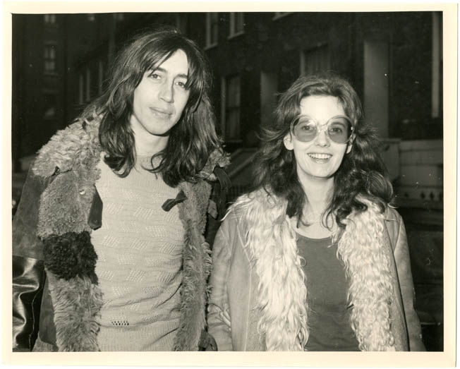 "An original 8x10 press photograph of Richard Neville and Louise Ferrier taken on the day of their third appearance at the West London Magistrates Court on a charge of being ""in unauthorised possession of cannabis resin"", January 27th, 1971. Richard NEVILLE, Louise FERRIER."
