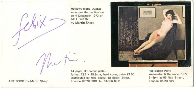 Art Book. Original invite to the book's publication party, held in Covent Garden, London, on December 6th, 1972.