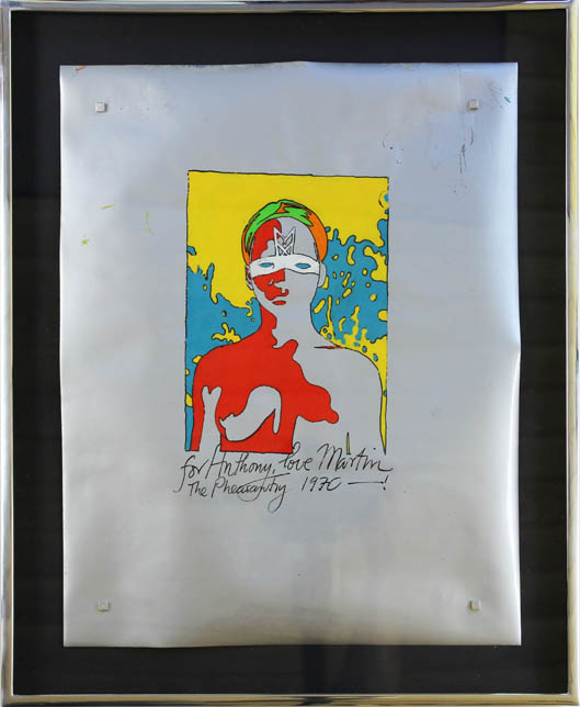 "An original painting by Martin Sharp. Paint (probably acrylic) on soft (Mylar) plastic film. Untitled. Signed in paint by the artist: ""for Anthony, love Martin The Pheasantry 1970 - !"" PAINTING."