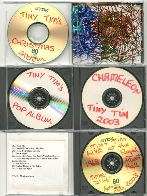 Four CDs of recordings by Tiny Tim, transferred from records or tapes by Martin Sharp, each one hand-titled and captioned in red marker pen by him, c. 2003. TINY TIM.