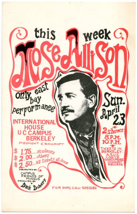 Promotional card announcing a Mose Allison concert at UC Berkeley, April 23rd, 1967. Mose ALLISON.