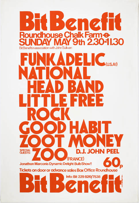 Original poster + flyer announcing a BIT benefit concert headlined by Funkadelic at the Roundhouse, north London, May 9th (1971). FUNKADELIC.