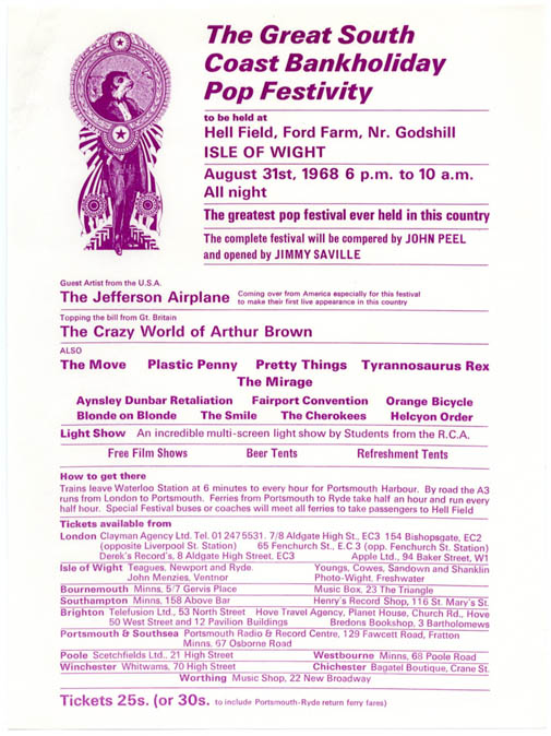 "Original handbill designed by David Fairbrother-Roe announcing ""The Great South Coast Bankholiday Pop Festivity"" held on the Isle of Wight, August 31st, 1968. ISLE OF WIGHT FESTIVAL 1968."