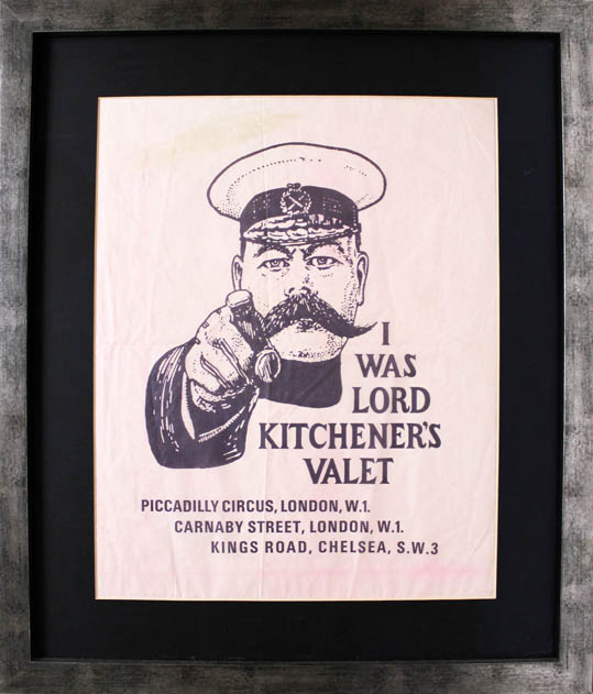 An original item of paper packaging advertising the clothing boutique, I Was Lord Kitchener's Valet, c. 1967. I WAS LORD KITCHENER'S VALET.