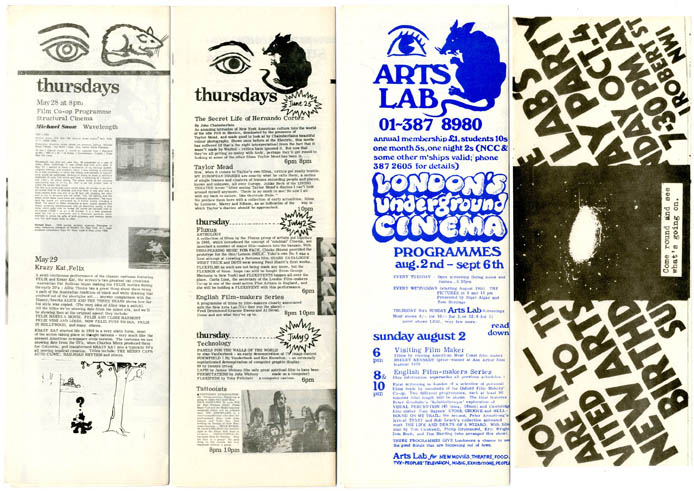 "Three programmes printing descriptive listings of upcoming film screenings at the New Arts Lab, ""London's Underground Cinema"", May 28th-September 20th (1970). NEW ARTS LAB CINEMA."