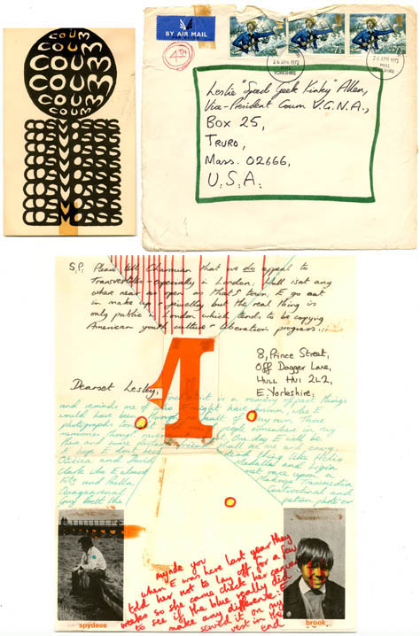 A small but fabulous collection of letters, posters, photographs, flyers, cards, mail art, collage material and COUM stickers, originally sent in the mail by Genesis P-Orridge to Lesley Allen between 1972 and 1973, together with a letter to her dating from May 1976 announcing the formation of Throbbing Gristle. Lesley Allen was Vice-President of the COUM Van Glub of North America, and a friend of Charmian Ledner, President of COUM V.G.N.A., both of whom met P-Orridge on their visit to London in May 1972. COUM COLLECTION.