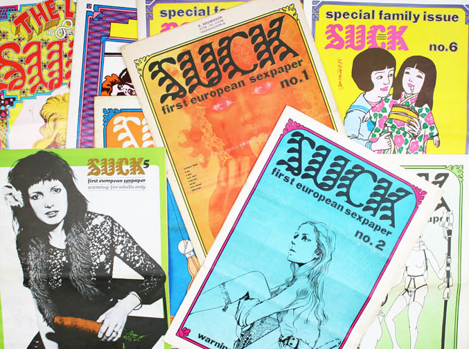 SUCK #1-8 (London: BCM/Joy, September 1969 & Amsterdam: Joy Publications, March 1970 - June 1974) + Suck Special Issue - THE VIRGIN SPERM DANCER: An Ecstatic Journey (Den Haag: Bert Bakker, June 1972) + WET DREAMS (Amsterdam: Joy Publications, May 1973). All published, including both first and second printings of Suck #6 (the second printing was revised, with minor changes, and printed on semi-gloss paper in a slightly reduced format).