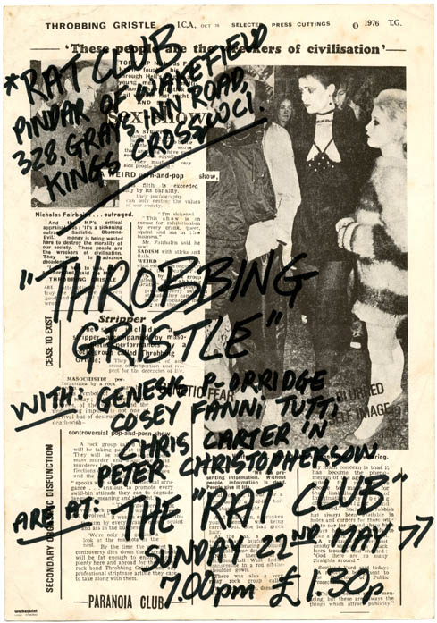 Original handwritten flyer announcing Throbbing Gristle at the Rat Club, Pindar of Wakefield Pub, Gray's Inn Road, London, 22nd May, 1977. THROBBING GRISTLE.