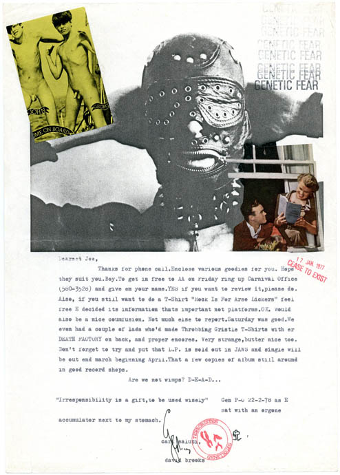 """Typed letter signed to Jon Savage, decorated with an original collage, dated """"22-2-78 as E sat with an orgone accumulator next to my stomach."""" Genesis P-ORRIDGE."""