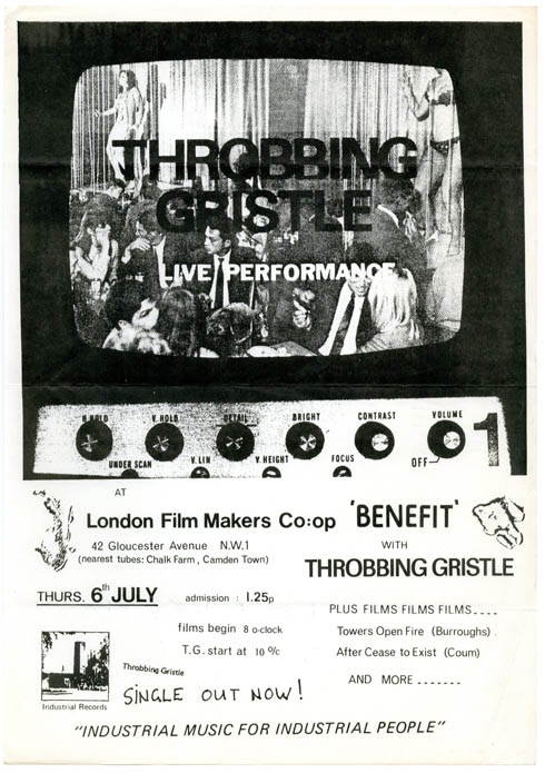 Original flyer announcing a performance by Throbbing Gristle at the London Film-Makers' Co-op, London, 6th July (1978). THROBBING GRISTLE.