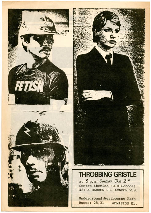 Original double-sider flyer announcing a performance by Throbbing Gristle at Centro Iberico, London, 21st January (1979). THROBBING GRISTLE.