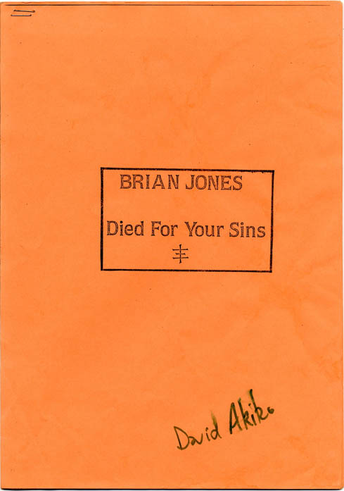 An unauthorised photo-reproduced copy of a transcript of a BBC Radio Four programme, 'A Story of Our Time: Brian Jones the Rolling Stone 1943-1969', first broadcast on 2nd March, 1971. PSYCHIC TV.