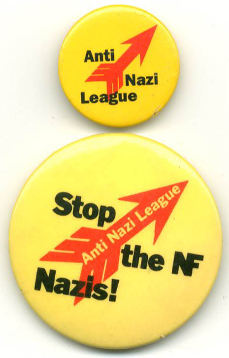 Two original ANL badges (c. late 1970s). ANTI-NAZI LEAGUE.