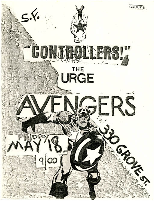 Original b/w flyer announcing The Avengers plus Controllers! and The Urge at 330 Grove St., San Francisco, 18th May (1979). The AVENGERS.