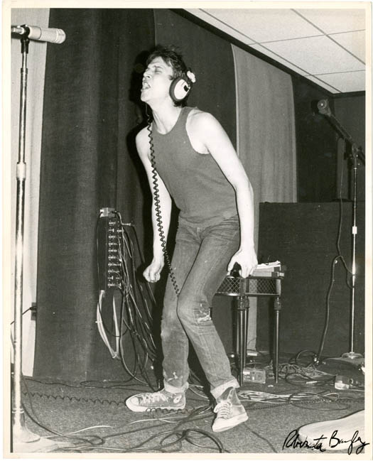 A vintage 10x8 b/w photograph by Roberta Bayley of Richard Hell during a recording session at SBS Studio, Yonkers, NY, January 1976. Roberta BAYLEY.