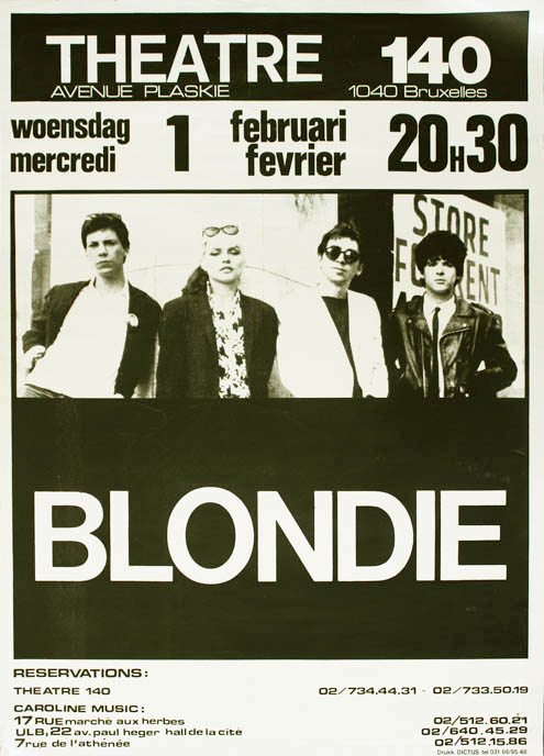 Original concert poster announcing Blondie at Theatre 140, Brussels, 1st February (1978). BLONDIE.