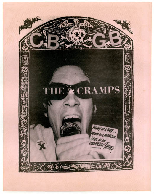 Original flyer announcing The Cramps' three-night residency at CBGB's, 12th-14th January (1978). The CRAMPS.