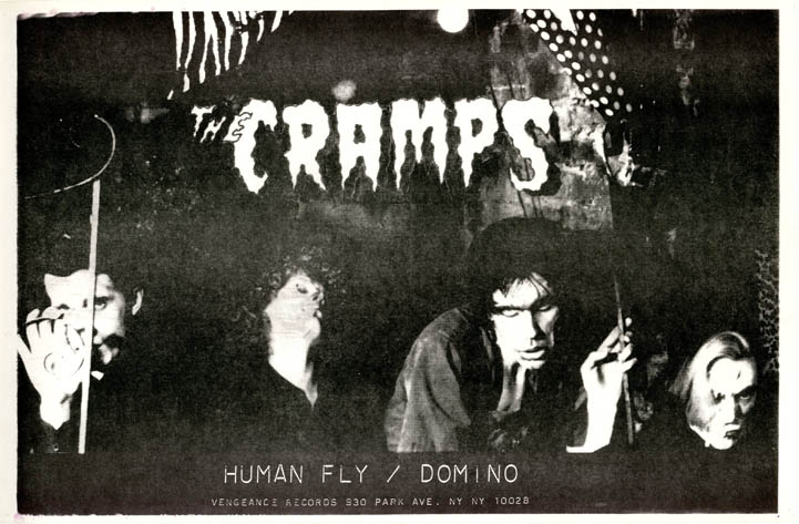 Original poster announcing The Cramps' debut single, 'Human Fly'/'Domino' (NY: Vengeance Records, 1978). The CRAMPS.