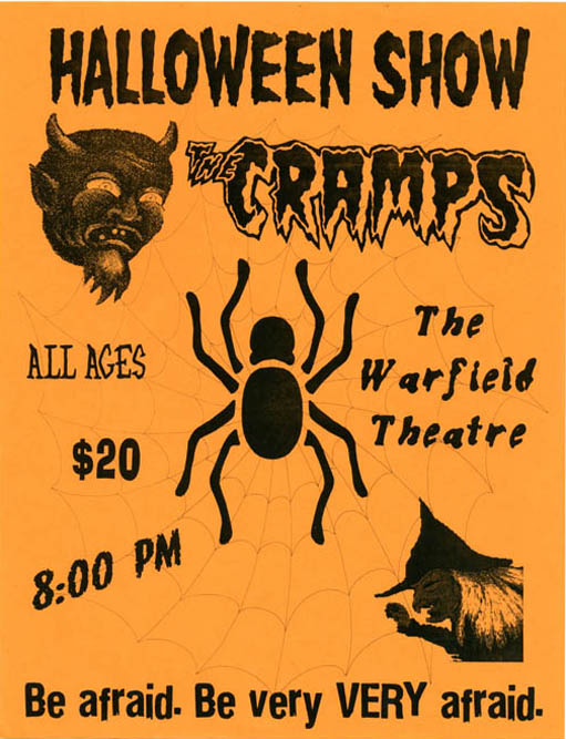 Original 'Halloween Show' flyer announcing The Cramps at the Warfield Theatre, San Francisco (31st October, 1992). The CRAMPS.