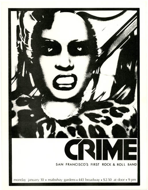 "Original handbill featuring a graphic of a snarling woman announcing Crime (""San Francisco's First Rock & Roll Band"") at the Mabuhay Gardens, San Francisco, 10th January (1977). CRIME."